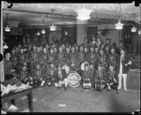 Tehama Temple Shriners' band in Los Angeles Times editorial office, Los Angeles, 1925