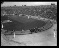 Marching units in Shriners' parade, Los Angeles Memorial Coliseum, Los Angeles, 1925