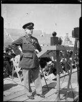General Walter P. Story speaking at Memorial Day observance, Los Angeles Memorial Coliseum, Los Angeles, 1934