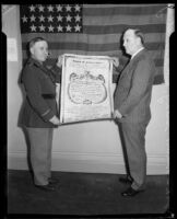 General Walter P. Story giving Award of Achievement to William H. Armstrong, 1933
