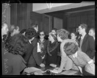 Student organizer Celeste Strack and other students, 1935