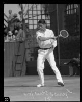 Gerald Stratford playing tennis, [Pasadena?], 1928