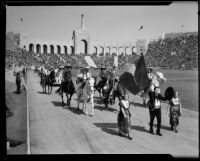 Mexican delegation in parade at President's Day Ceremony, Los Angeles Memorial Coliseum, Los Angeles, 1933