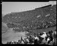 Military unit in parade at President's Day Ceremony, Los Angeles Memorial Coliseum, Los Angeles, 1933