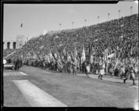 Boy Scouts at President's Day Ceremony, Los Angeles Memorial Coliseum, Los Angeles, 1933