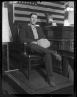 "Material witness Arthur ""Shorty"" Smith on witness stand, 1925"