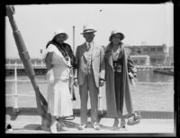 Kansas City mayor Bryce B. Smith, wife Nannie Smith, and daughter Betty Smith on pier or dock, 1932