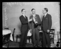 Sierra Madre News co-owners Joe Eastwood and George B. Morgridge being awarded trophy by Burton L. Smith, [1927?]