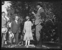 Crown Prince Gustav Adolf and Crown Princess Louise of Sweden visiting an orchard, Riverside, 1926