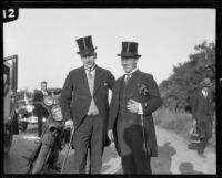 Two men with the party of people accompanying Crown Prince Gustav Adolf of Sweden during a visit to an orchard, Riverside, 1926