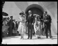 Crown Prince Gustav Adolf and Crown Princess Louise of Sweden with Mayor George Cryer at the Central Library, Los Angeles, 1926