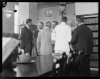 Crown Prince Gustav Adolf of Sweden with others at the recently completed Los Angeles Central Library, Los Angeles, 1926