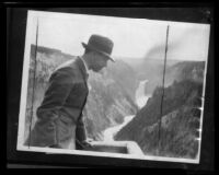 Crown Prince Gustav Adolf of Sweden looking down into the Grand Canyon of the Yellowstone, Wyoming, 1926
