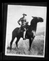 Crown Prince Gustav Adolf of Sweden riding a horse, California, Colorado or Wyoming, 1926