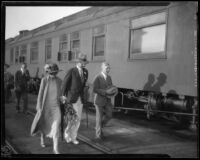Crown Prince Gustav Adolf and Crown Princess Louise of Sweden at a train station, Los Angeles, 1926
