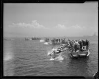 Swimming race start, Cabrillo Beach, Los Angeles, 1933