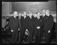 Baja California governor Jose Maria Tapia, California governor C.C. Young, and five other men, [Los Angeles?], 1930