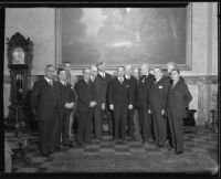 Baja California governor Jose Maria Tapia, California governor C.C. Young, and eleven other men, [Los Angeles?], 1930