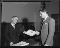 Football player Francis Tappaan receiving certificate, [1931?]