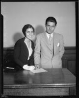 Football player Francis Tappaan and fiancee Beth C. Moreno, 1932