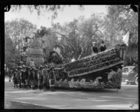 Pasadena schools float in the shape of a galley in the Tournament of Roses Parade, Pasadena, 1924
