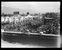 View towards Tournament of Roses Parade and grandstand from roof top, Pasadena, 1926