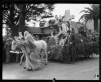 """Rock of Ages"" float drawn by donkeys in the Tournament of Roses Parade, 1926"