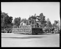 """Goldilocks and the Three Bears"" float in the Tournament of Roses Parade, Pasadena, 1933"