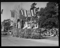 """Princess and 6 White Swans"" float in the Tournament of Roses Parade, Pasadena, 1933"