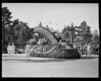 """Rainbow and the Pot of Gold"" float in the Tournament of Roses Parade, Pasadena, 1933"