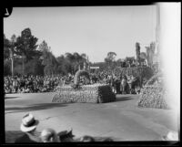 Automobile decorated in the form of a basket in the Tournament of Roses Parade, Pasadena, 1933