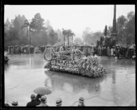 Decorated automobile for the Los Angeles County Board of Supervisors in the Tournament of Roses Parade, Pasadena, 1934