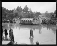 """Norse Ship at Anchor"" float in the Tournament of Roses Parade, Pasadena, 1934"