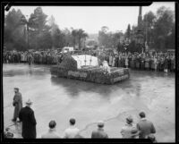 Rose Bowl float in the Tournament of Roses Parade, Pasadena, 1934
