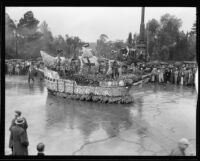 """Sail On"" float in the Tournament of Roses Parade, Pasadena, 1934"