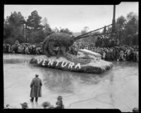 """Sea Monster"" (lobster?) float in the Tournament of Roses Parade, Pasadena, 1934"