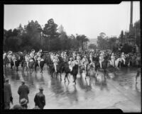 Band on horseback at the Tournament of Roses Parade, Pasadena, 1934