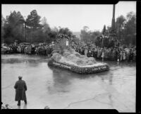 """A Sea of Sand"" float in the Tournament of Roses Parade, Pasadena, 1934"