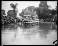 """Old Ironsides"" float in the Tournament of Roses Parade, Pasadena, 1934"
