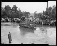 """Chinese Barge"" float in the Tournament of Roses Parade, Pasadena, 1934"