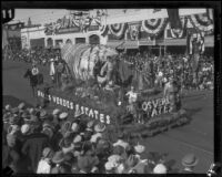 """Land of My Sunshine Dreams"" float in the Tournament of Roses Parade, Pasadena, 1927"