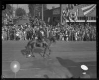 Man on horseback wearing riding habit in the Tournament of Roses Parade, Pasadena, 1927
