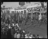 Color guard in the Tournament of Roses, Pasadena, 1927