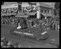 """Happy New Year"" float in the Tournament of Roses Parade, Pasadena, 1927"