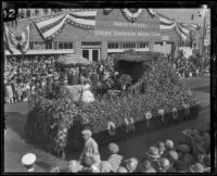 """The Old Oaken Bucket"" float in the Tournament of Roses Parade, Pasadena, 1927"