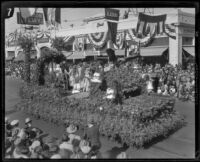 """The Wedding of the Orange"" float in the Tournament of Roses Parade, Pasadena, 1927"