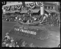 """Underneath the Mellow Moon"" float in the Tournament of Roses Parade, Pasadena, 1927"