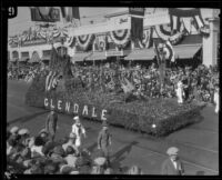 """Columbia, Gem of the Ocean"" float in the Tournament of Roses Parade, Pasadena, 1927"