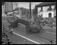 Dragon float in the Tournament of Roses Parade, Pasadena, 1928