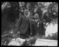 Governor Young and Tournament President Ticknor in the Tournament of Roses Parade, Pasadena, 1928